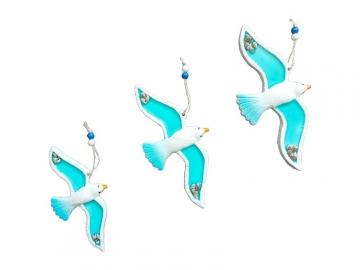 Mavi Üçlü Kuş Deniz Kabuğu Süslü Ev Balkon Duvar Süsü