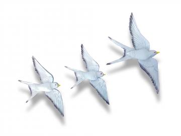 Üçlü Kırlangıç Duvar Süsü Üçlü Kuş Dekoratif Obje