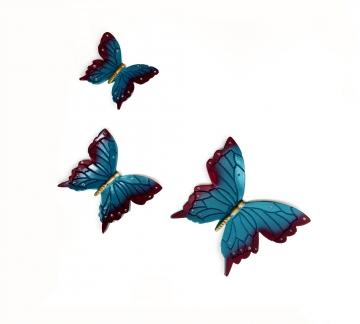 Üçlü Kelebek Kabartma Duvar Süsü Balkon Biblo