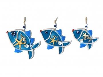 Dekoratif Üçlü Balık Duvar Süsü Deniz Yıldızı ve Kabuklu