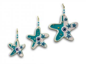 Üçlü Deniz Yıldızı Nazar Boncuğu Duvar Süsü Dekoratif Obje
