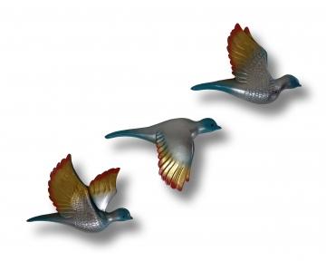 Üçlü Kumru Uçan Kuş Ev Duvar Aksesuarı