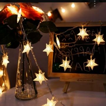 Yıldız Led Pilli İp Led Aydınlatma Dekoratif Led Lamba Yıldız Şekil Pilli Led Işık