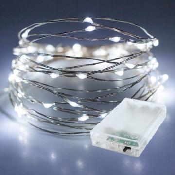 10 Metre Beyaz Renk Pilli Peri Led İnce Tel 100 Adet Beyaz Led Dekoratif Lamba