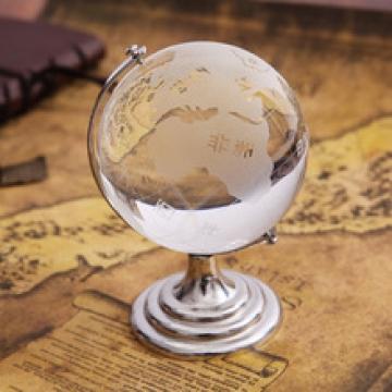 Cam Dünya Küresi Ofis Masa Aksesuarı İki Farklı Boy Cam Küre Hediye Süs