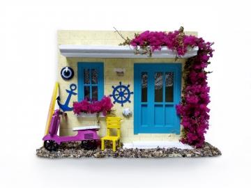Dekoratif Alaçatı Maket Ev Işıklı Ev Duvar Süsü