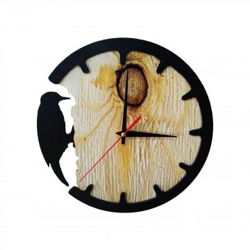 Ağaçkakan Temalı Dekoratif Duvar Saati