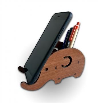 MDF Kesim Fil Desenli Telefon Tutucu Kalemlik Ofis Masa Aksesuar