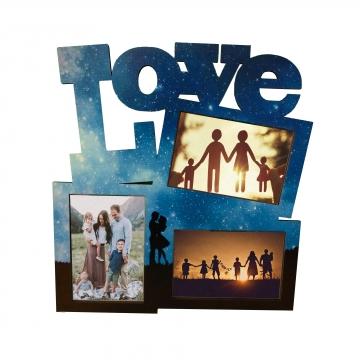 Dekoratif Üçlü MDF Duvar Fotoğraf Çerçevesi Love