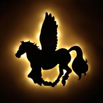 Dekoratif Led Işıklı Pegasus Büyük Boy Ahşap Tablo Işıklı Tablo