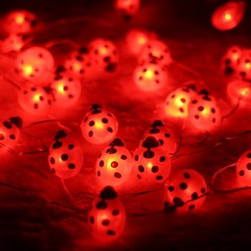 Dekoratif Uğur Böceği Peri Led Işık Pilli Süs Tel Led Aydınlatma