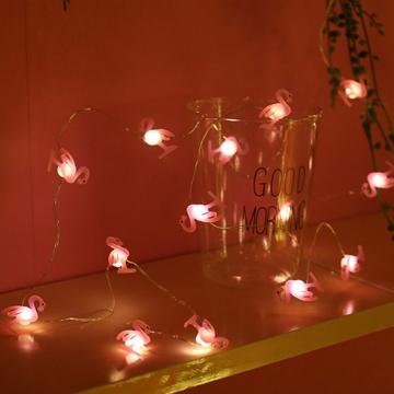 Dekoratif Flamingo Peri Led Işık Pilli İnce Tel Led Aydınlatma