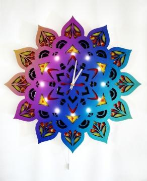 Dekoratif El Yapımı Ahşap Mandala Epoksi Led Işıklı Duvar Saati