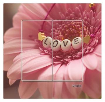 Dekoratif Baskılı Elektrik Düğmesi Elektrik Anahtarı Kapaklı Priz Kapı Zili Love Çiçek