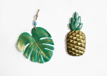 Dekoratif İkili Ananas ve Yaprak Duvar Süsü Duvar Objesi İki Ayrı Renk