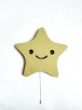 Dekoratif Led Işıklı Sevimli Yıldız Baskılı MDF Çocuk Bebek Odası Duvar Süsü