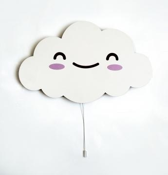 Dekoratif Led Işıklı Sevimli Küçük Boy Bulut Baskılı MDF Çocuk Bebek Odası Duvar Süsü