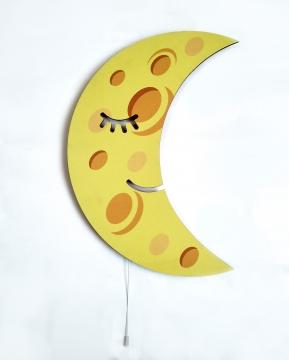 Dekoratif Led Işıklı Sevimli Ay Baskılı MDF Çocuk Bebek Odası Duvar Süsü
