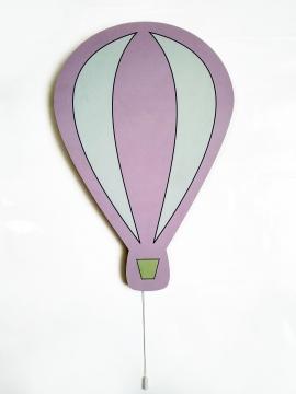 Dekoratif Led Işıklı Sevimli Uçan Balon Baskılı MDF Çocuk Bebek Odası Duvar Süsü