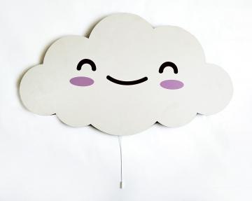Dekoratif Led Işıklı Sevimli Büyük Boy Bulut Baskılı MDF Çocuk Bebek Odası Duvar Süsü