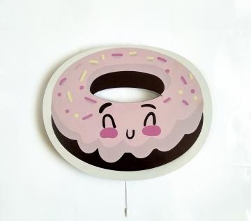Dekoratif Led Işıklı Sevimli Donut Baskılı MDF Çocuk Bebek Odası Duvar Süsü