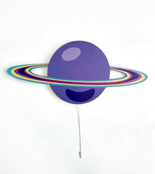 Dekoratif Led Işıklı Saturn Baskılı MDF Çocuk Bebek Odası Duvar Süsü