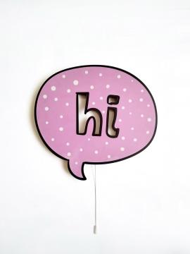 Dekoratif Led Işıklı Sevimli Hi! Yazısı Baskılı MDF Çocuk Bebek Odası Duvar Süsü
