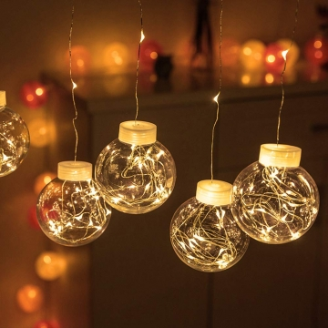Büyük Top Süslü Pilli Sarkıt Peri Led Işık Dekoratif Led Lamba