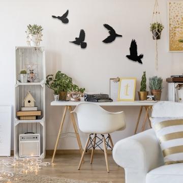 CajuArt Dekoratif Ahşap Modern Dörtlü Kuş Duvar Süsü Duvar Dekor