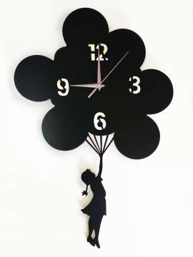 CajuArt Uçan Balonlu Kız Ahşap Tasarım Duvar Saati Siyah Renk