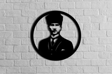 CajuArt Dekoratif Ahşap Kesim Atatürk Portresi Büyük Duvar Tablo