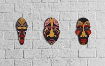 CajuArt Dekoratif Üçlü Ahşap Tablo Otantik Maske Kabile Mask Süs
