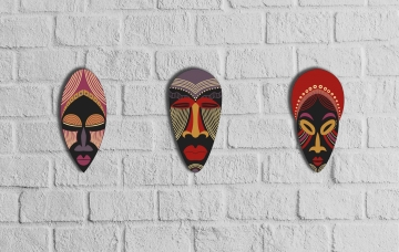 CajuArt Dekoratif Üçlü Ahşap Tablo Otantik Kabile Maske Mask Set