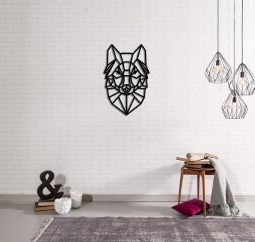 CajuArt Dekoratif Ahşap Kesim Modern Geometrik Büyük Kurt Tablo