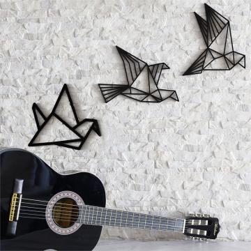 CajuArt Dekoratif Origami Tarzı Modern Üçlü Ahşap Kuş Duvar Süsü