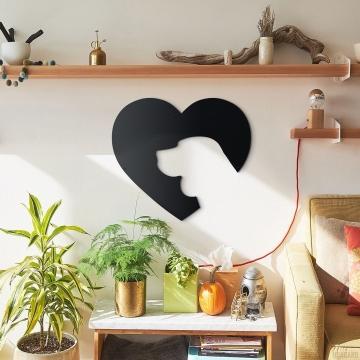 CajuArt Dekoratif Ahşap Kesim Kalp İçinde Köpek Temalı Ahşap Tablo