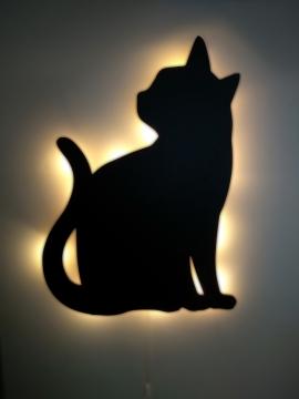 CajuArt Dekoratif Büyük Boy Led Işıklı Oturan Kedi Ahşap Tablo