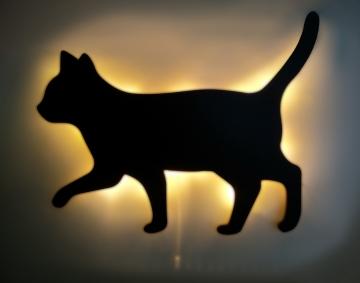 CajuArt Dekoratif Büyük Boy Led Işıklı Yürüyen Kedi Ahşap Tablo