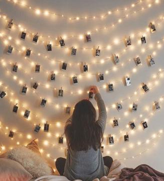 3 Metre Pilli Peri Tel Led Işık 15 Adet Küçük Ahşap Mandal Anı Duvarı Set