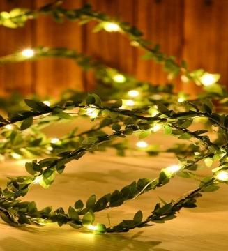 Yapay Sarmaşık Yeşil Çiçek Üzeri Dolanmış 3 Metre Peri Led Işık Dekoratif Aydınlatma