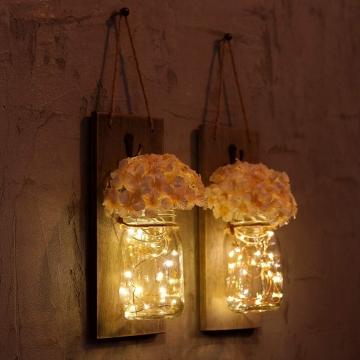 CajuArt Dekoratif İkili Kavanoz Yapay Çiçek Peri Led Işık Aplik
