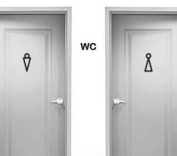 CajuArt Modern Ahşap Bay Bayan WC Tuvalet Kapı Yönlendirme İşareti Levhası
