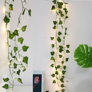 CajuArt Dekoratif Büyük Yapraklı 2 Metre Sarmaşık Çiçek Led Işık