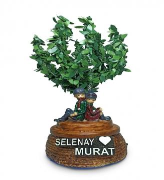 Kişiye Özel İsimli Led Işıklı Ağaç Altında Oturan Romantik Sevgili Biblo Hediye