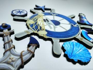 CajuArt 7 Parça Denizci Marin Temalı Ahşap Duvar Yapıştırma Süs