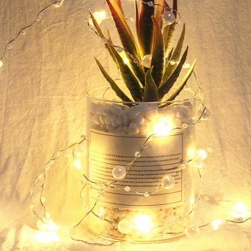 2 Metre İnci Şerit Peri Led Işık Krem ve Beyaz İnci Süsleme Dekoratif Aydınlatma