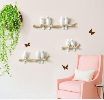 CajuArt Dekoratif Modern Duvar Askılık Dal Üstünde Kuş Duvar Dekoru Tekli İkili Üçlü Süs Anahtarlık Elbise Askı