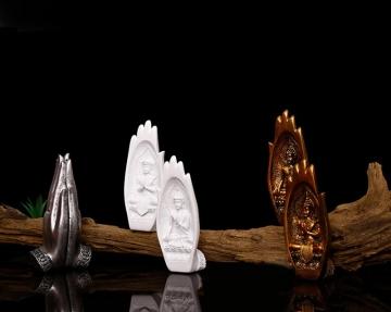 CajuArt Dekoratif İkili Modern El İçinde Buda Heykeli Biblo Set Yoga Tathagata
