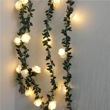 CajuArt Dekoratif 2m/3m Yapay Gül Şekilli Sarmaşık Yapraklı Led Işık Dekor Aydınlatma