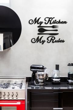 CajuArt Dekoratif My Kitchen My Rules Mutfak Duvar Dekoru Tablo Ahşap Tablo